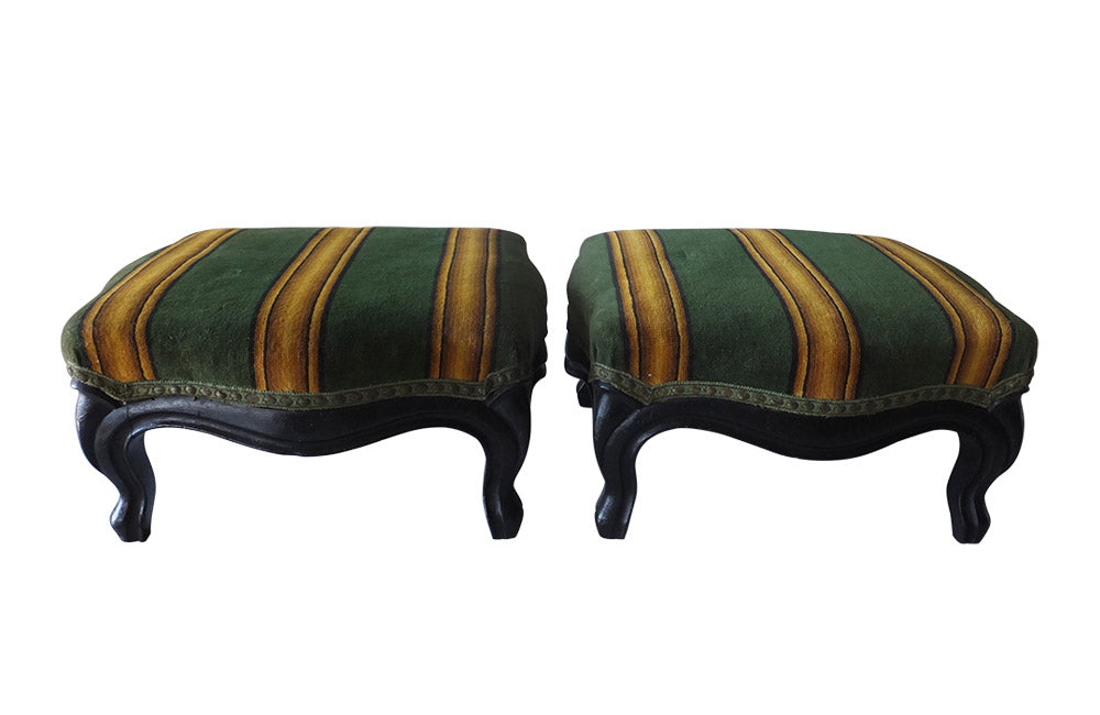 PAIR OF NAPOLEON III FOOTSTOOLS