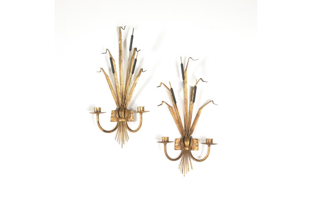 PAIR OF VINTAGE BULRUSH WALL LIGHTS