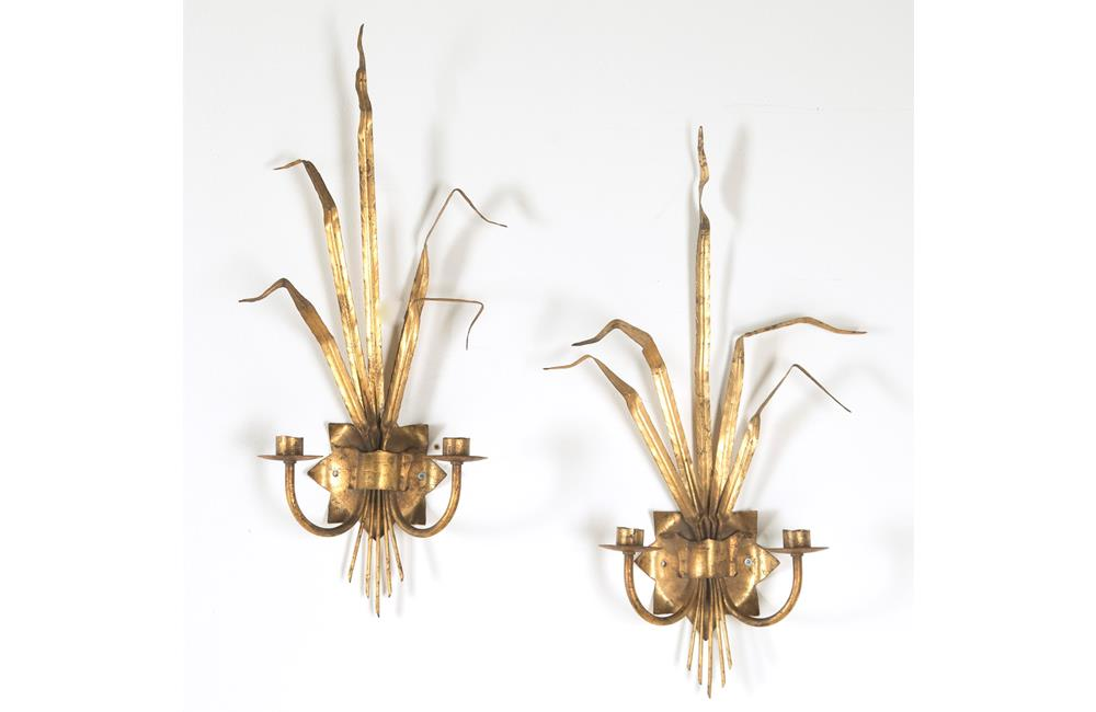 PAIR OF VINTAGE REED WALL LIGHTS