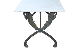 BEAUTIFUL CAST IRON SWAN BASED TABLE