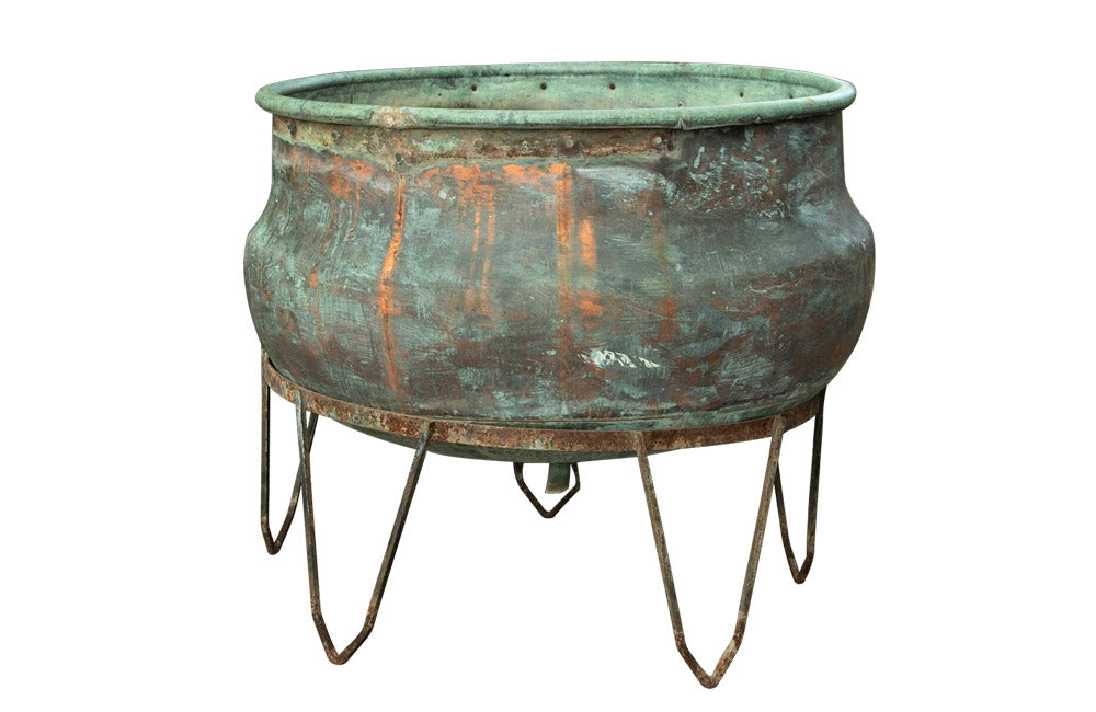 LARGE COPPER CHEESE VAT ON STAND