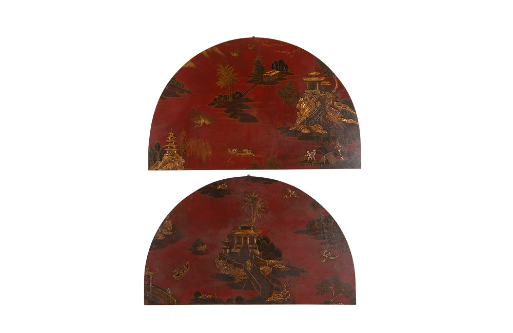 TWO DECORATIVE CHINOISERIE PANELS