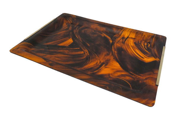 'DIOR HOME' STYLE FAUX TORTOISESHELL LUCITE TRAY