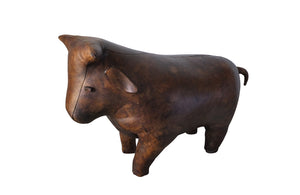 LEATHER BULL FOOTSTOOL
