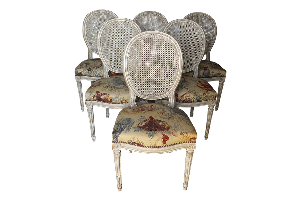 SET OF SIX LOUIS XVI REVIVAL DINING CHAIRS