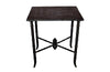 FAUX BAMBOO SIDE TABLE WITH LEATHERED TOP