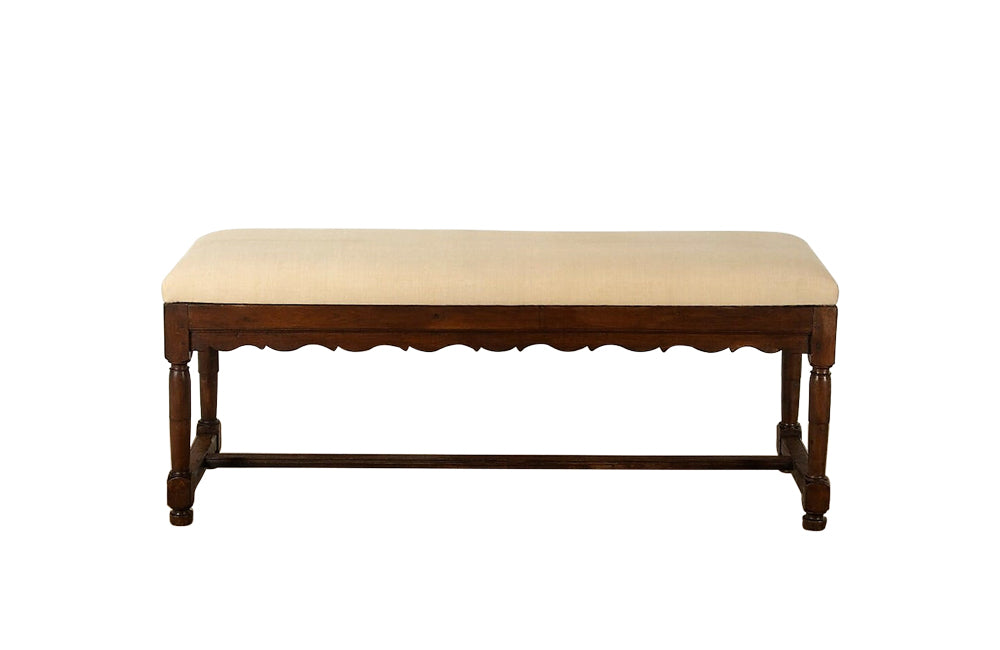 LARGE OAK UPHOLSTERED BENCH