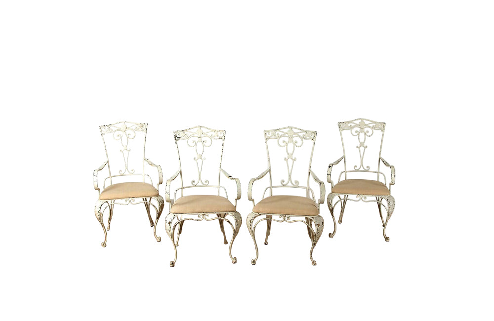 SET OF 4 1950'S IRON ARMCHAIRS
