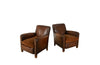 Pair of 1950's Leather Club Chairs - French Mid Century Furniture - AD & PS Antiques