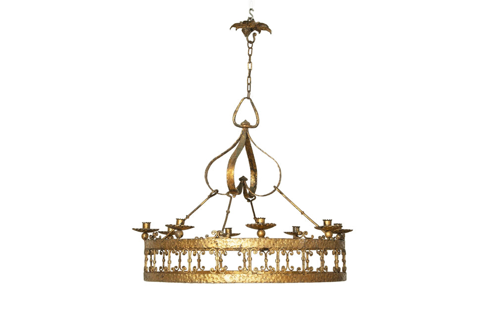 LARGE SPANISH IRON HANGING LIGHT