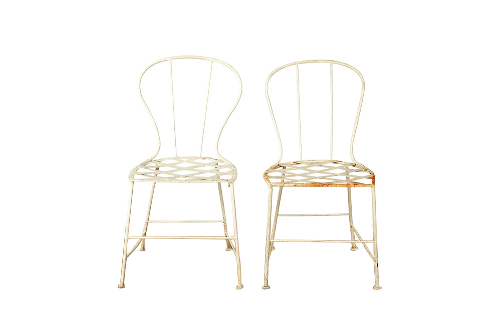 PAIR OR FRENCH IRON GARDEN CHAIRS