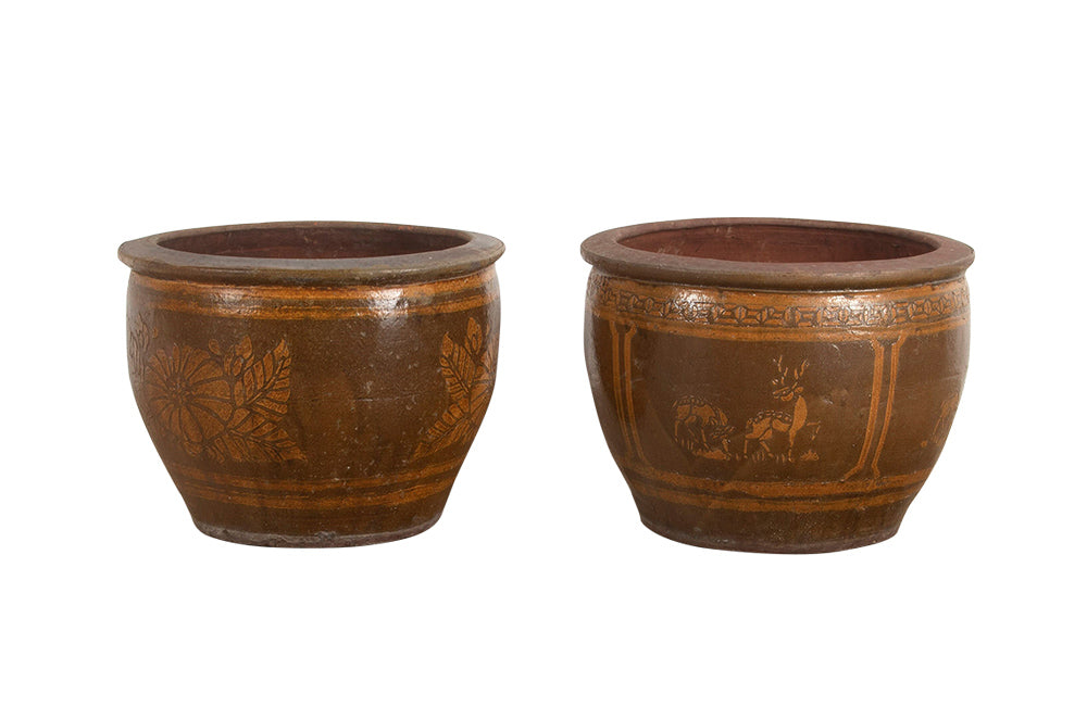 PAIR OF GLAZED POTTERY CHINESE PLANTERS