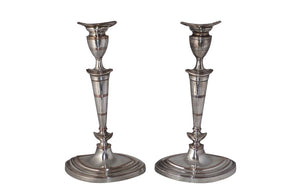 PAIR OF NEO-CLASSICAL REVIVAL CANDLE STICKS