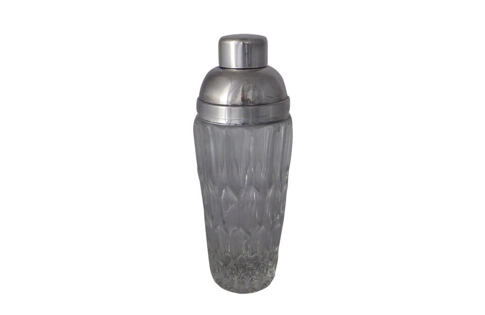 CUT GLASS & SILVER PLATE COCKTAIL SHAKER