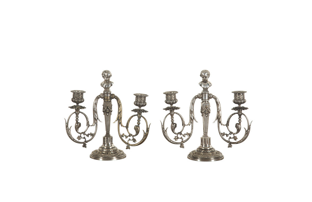 PAIR OF 19TH CENTURY NEO-CLASSICAL REVIVAL CANDLE STICKS