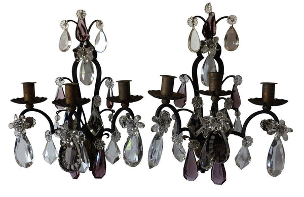PAIR OF IRON & CRYSTAL APPLIQUES