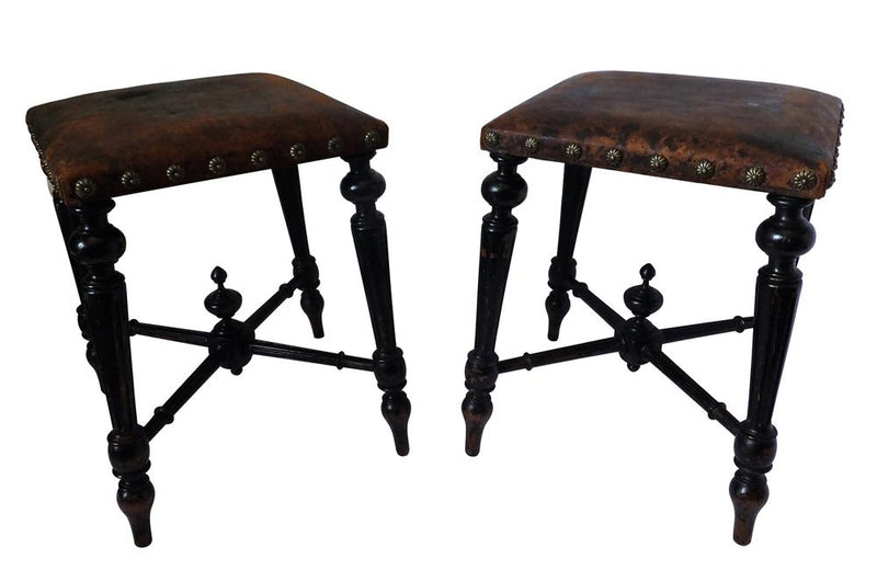 PAIR OF NAPOLEON III STOOLS