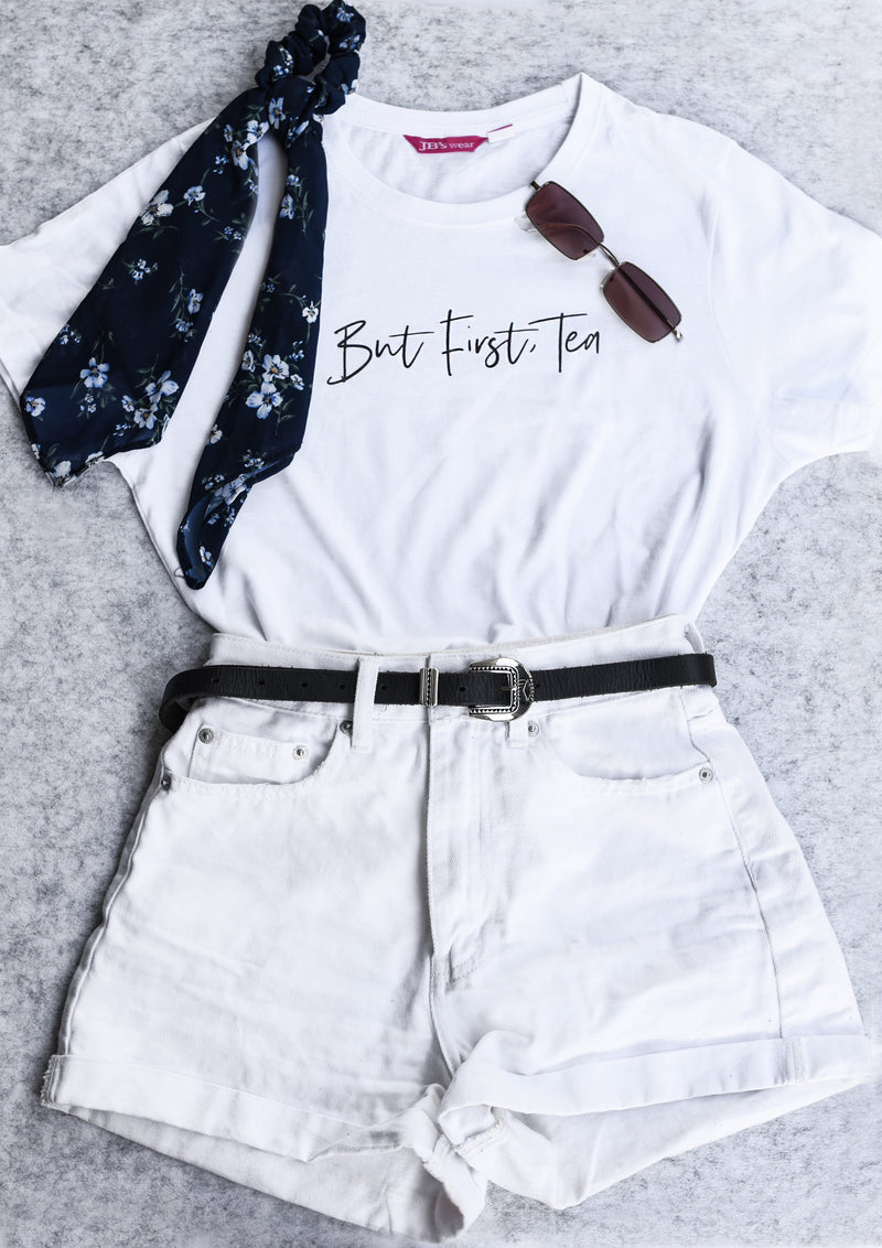 But First Tea Font Shirt - White