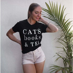 Cats Tea Shirt - Black