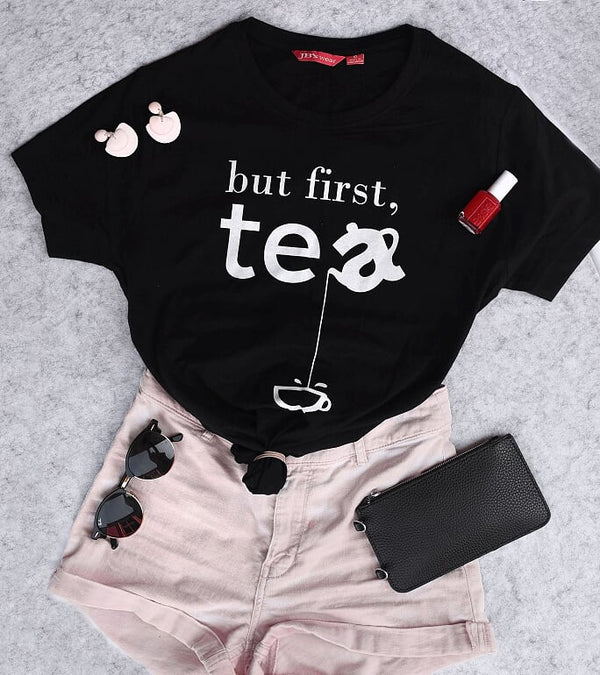 But First Tea Shirt - Black