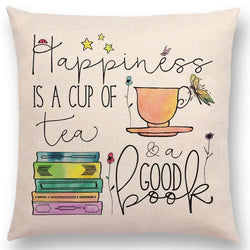 Happiness is a cup of tea & a good book Decorative Cushion Cover