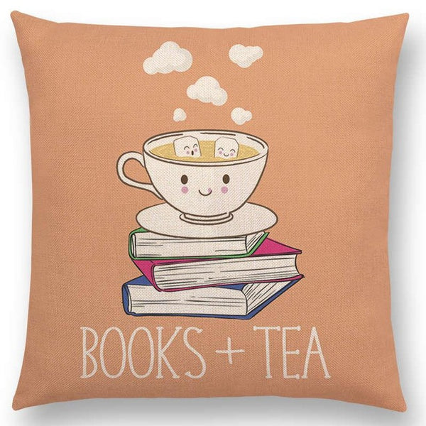 Orange Books + Tea Decorative Cushion Cover