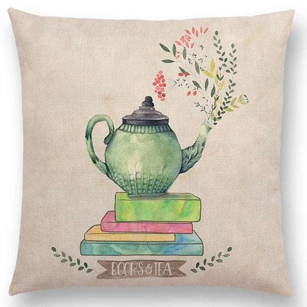 Books & Tea Decorative Cushion Cover