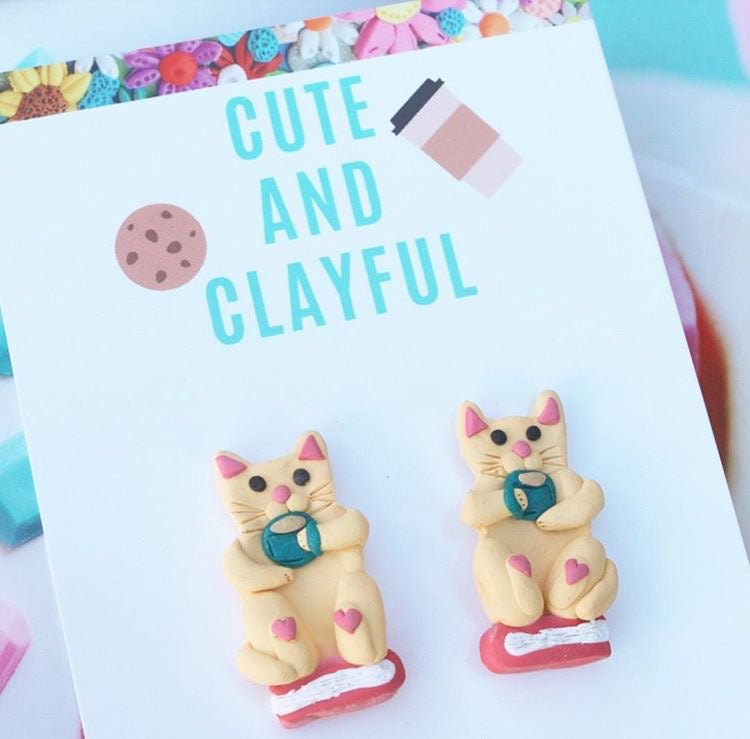 Beige Cat Books and Tea Statement Studs