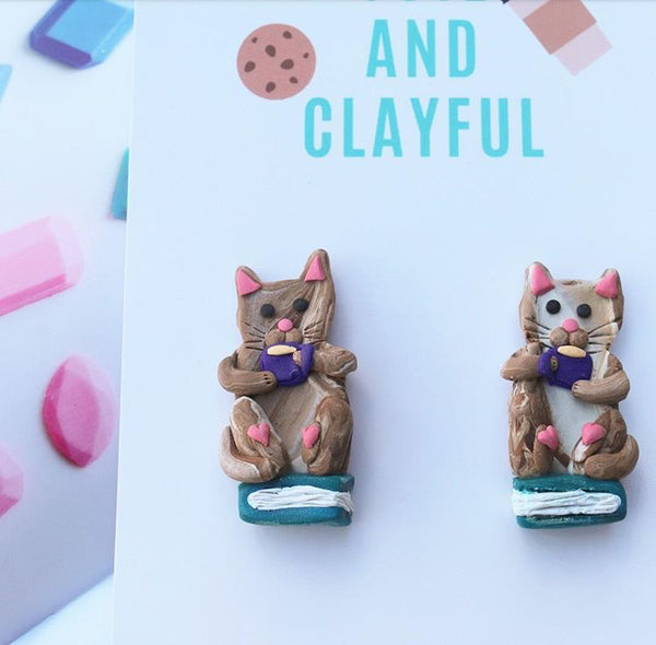 Marble Brown Cat Books and Tea Statement Studs