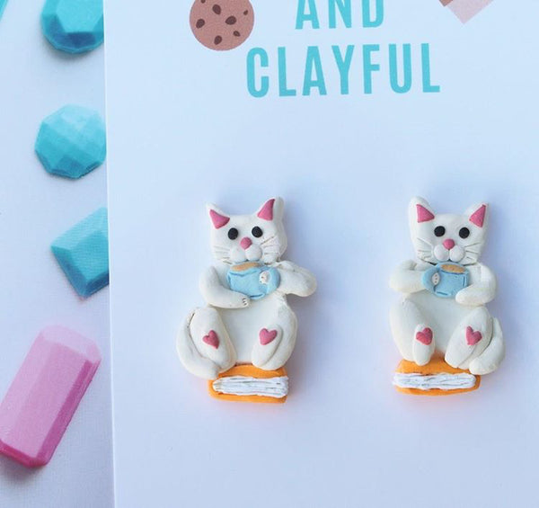 White Cat Books and Tea Statement Studs