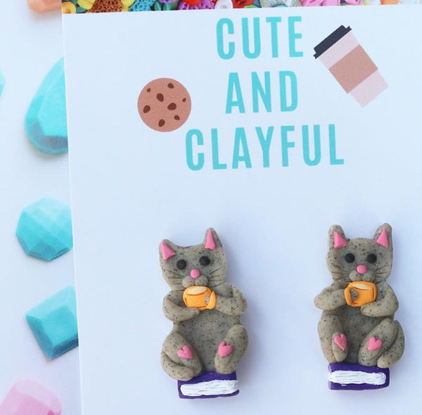Grey Cat Books and Tea Statement Studs