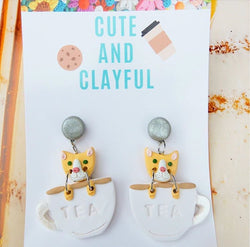 Cats in teacups - Silver stud top