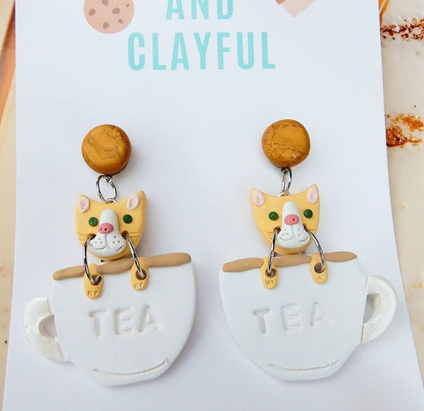 Cats in teacups - bronze stud top
