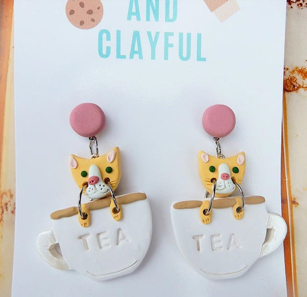 Cats in teacups - pink stud top