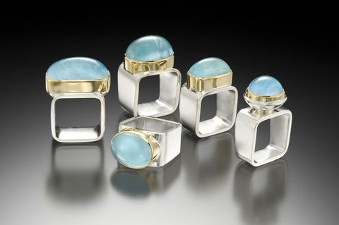 Aquamarine Square Rings