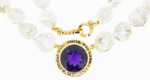Amethyst and Keshi Pearl Necklace