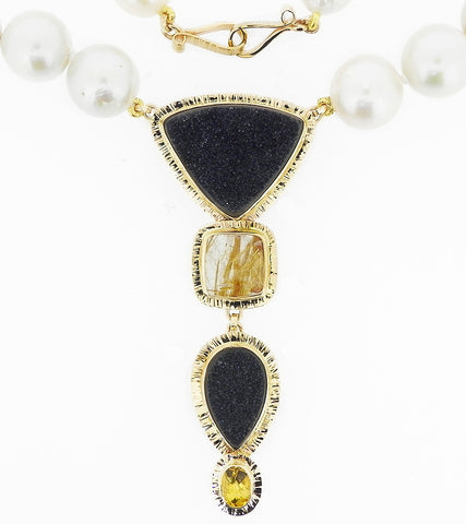 Onyx, Beryl & Pearl Necklace