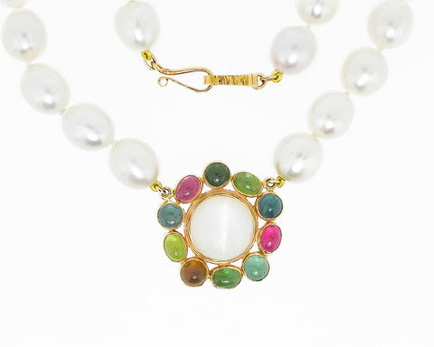Moonstone, Tourmaline & Pearl Necklace