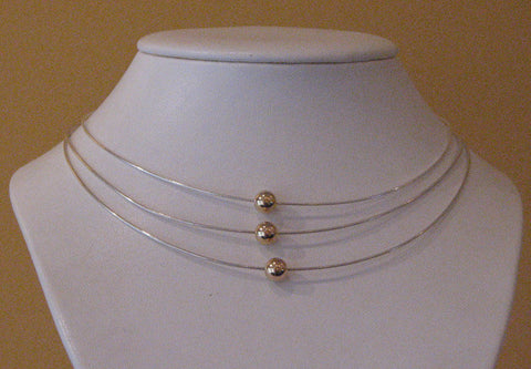 14k Single Ball Wire Necklace