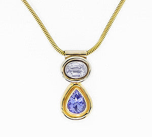 Blue and White Ceylon Sapphire Necklace
