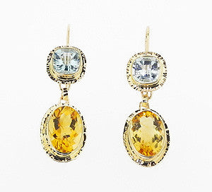 Citrine and Aquamarine Earrings