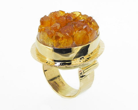 Drusy Citrine Ring