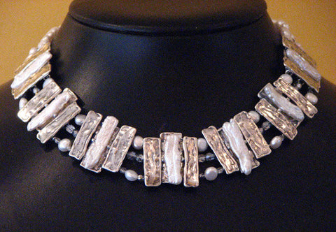 Pearls on Silver Rafts Collar