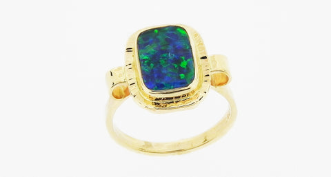 Gem Black Opal Ring