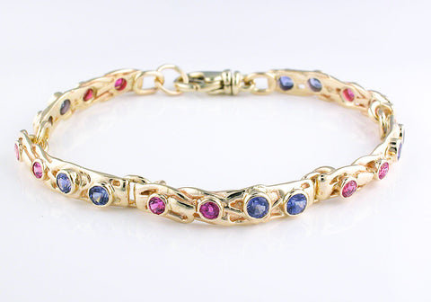 Pink and Blue Sapphire Bracelet
