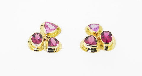 Pink Tourmaline Collage Earrings