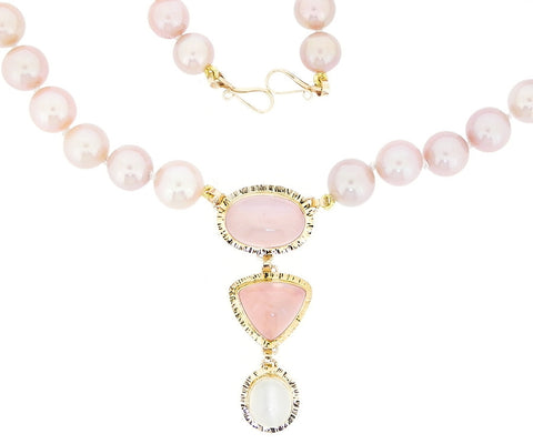 Quartz, Moonstone & Pearl Necklace