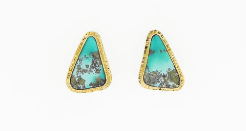 Turquoise with Pyrite Earrings