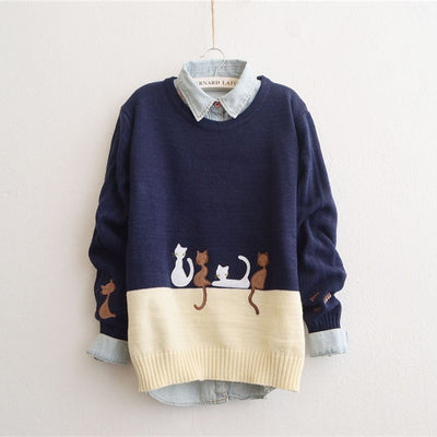 Four Little Cats Knitted Sweater