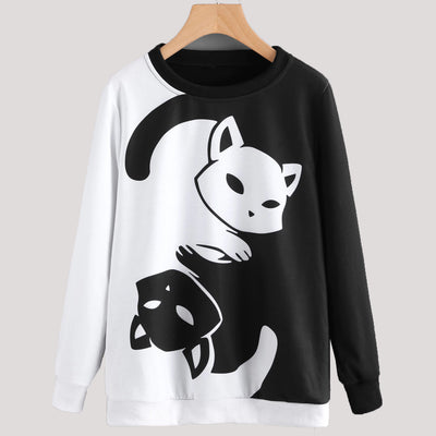 Black and White Yin Yang Cat Women's Sweater